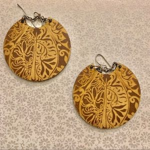 Stamped/embossed textured leather earrings